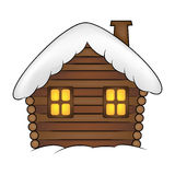 House with snow cartoon illustration. Winter snowy Christmas home, cottage isolated on white background. Royalty Free Stock Photography