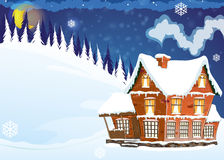 House with a snow-covered roof. Three-storey mansion with a snow-covered roof in a pine forest. Winter night landscape royalty free illustration