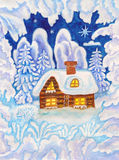 House in snow frame, painting Stock Image