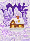 House in snow frame, painting Royalty Free Stock Images