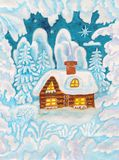 House in snow frame, painting Royalty Free Stock Photo