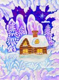 House in snow frame, painting Stock Images