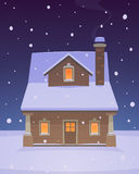 House in Snow. Front view of the house the winter time. Cartoon vector illustration Royalty Free Stock Photos