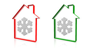 House and snow. House green outline and a snowflake Royalty Free Stock Photography