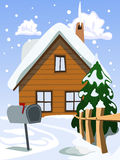 House in snow landscape Royalty Free Stock Image
