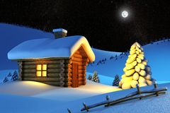 House in snow mountain. Christmas house and fir-tree in snow-drift mountain landscape vector illustration