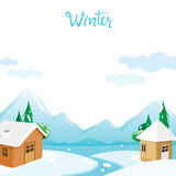 House With Snow, River And Mountain Background. Landscape Winter Season Building Outdoor Royalty Free Stock Photography