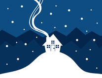 House Snow Silhouette. House silhouette with show falling Royalty Free Stock Images