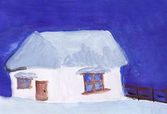 A house is in snow in a winter evening. Picture by child`s hand. A house is in snow in a winter evening. A picture is drawn paints by child`s hand stock illustration