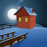 House in the snow. Winter landscape cartoon illustration with house Royalty Free Stock Image