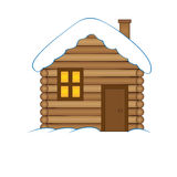 House with snow. Winter snowy Christmas home, cottage isolated on white background Royalty Free Stock Photography