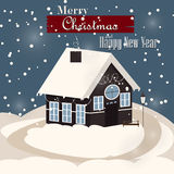 House in snowfall. Christmas greeting card. Background poster. Family house. Merry Christmas Family house Royalty Free Stock Photo