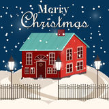 House in snowfall. Christmas greeting card. Background poster. Family house. Merry Christmas Family house Stock Image
