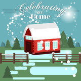 House in snowfall. Christmas greeting card. Background poster. Family house. Merry Christmas Family house Stock Photography