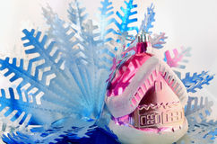 House and snowflake Royalty Free Stock Images