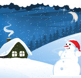 House and snowman Stock Image