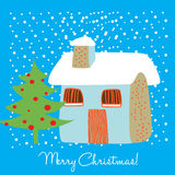 House in snowy christmas Royalty Free Stock Photography