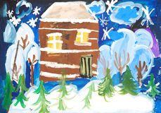 House in a snowy forest Royalty Free Stock Image