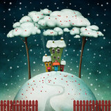 House on snowy hill stock illustration