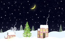 House in snowy hills. Christmas night and the house on snow hills Stock Photos