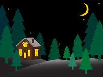 House in the snowy night forest greeting card vector illustration