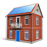 House with solar batteries on the roof. Residential house with solar batteries on the roof isolated on white background Stock Images