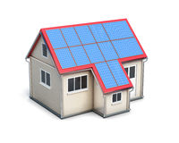 House with solar batteries on the roof  on white backgro Stock Photos