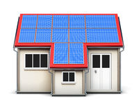 House with solar batteries on the roof  on white backgro Stock Photography