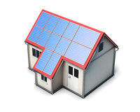 House with solar batteries on the roof on white background.  Stock Photography