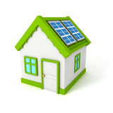 House with solar battery panels on the roof Stock Image