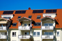 House with solar cell. A house with solar cells on the roof Stock Photo