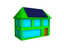 House with Solar Cells Stock Photo