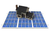 House and solar cells. The beautiful house on solar cell Royalty Free Stock Images