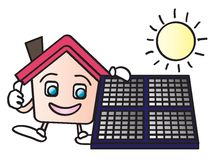 House solar energy cartoon. House cartoon character holding a solar panels isolated on white background Royalty Free Stock Photography