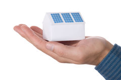 House with solar panel. Paper house with solar panel - concept Royalty Free Stock Photos