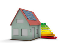 House with solar panel. High resolution house with solar panel and Energy chart symbol. Conceptual image for green architecture, alternative energy or power Stock Images