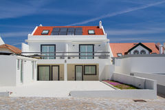 House with solar panel. Beach house with solar panel Stock Image