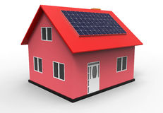 House with solar panel, 3d rendering Stock Image