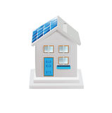 House and solar panel isolated on white Royalty Free Stock Photo