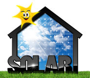 House with Solar Panel and Sun. 3D illustration of a house with solar panel, blue sky and a smiling sun. On the green grass and isolated on white background Royalty Free Stock Image