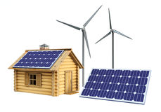 House solar panel and wind turbine Stock Image