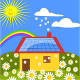 House with solar panels. And rainbow Royalty Free Stock Photo