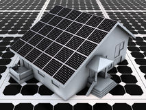 House on solar panels. Abstract house model on the solar panels Royalty Free Stock Image