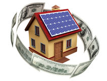 A house with solar panels Stock Photo