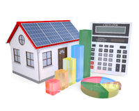 House with solar panels, a calculator and graph Stock Images