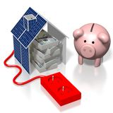 House, solar panels concept Stock Photos