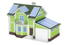 House with solar panels, 3D rendering Royalty Free Stock Photo