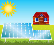 House and solar panels Stock Images