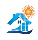 House with solar panels logo Stock Photography