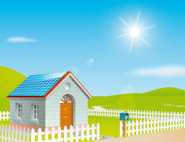 House with solar panels on the roof. Illustration of a house with solar panels on the roof at a sunny day Royalty Free Stock Photography